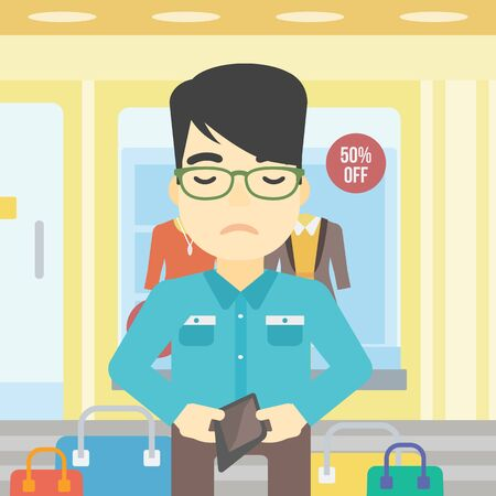 empty wallet: An asian young man showing his wallet purse on the background of showcase of a store. Bankruptcy concept. Vector flat design illustration. Square layout.