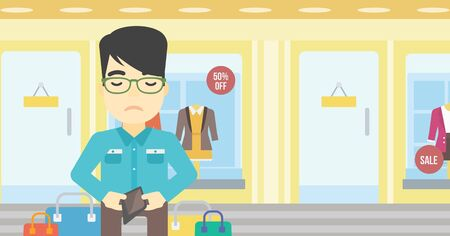 An asian young man showing his wallet purse on the background of showcase of a store. Bankruptcy concept. Vector flat design illustration. Horizontal layout. Çizim