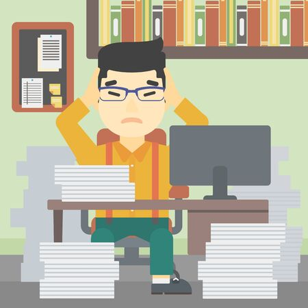 heaps: An asian young businessman in despair sitting at workplace with heaps of papers and clutching his head. Vector flat design illustration. Square layout.