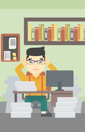 overload: An asian young businessman in despair sitting at workplace with heaps of papers and clutching his head. Vector flat design illustration. Vertical layout. Illustration