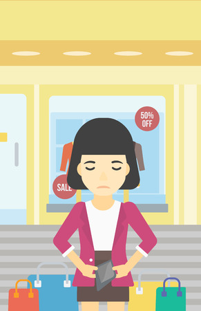 empty wallet: An asian young woman showing her epmty wallet on the background of showcase of a store. Bankruptcy concept. Vector flat design illustration. Vertical layout.