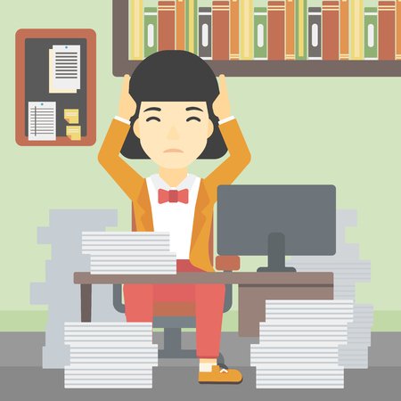 heaps: An asian young business woman in despair sitting at workplace with heaps of papers and clutching her head. Vector flat design illustration. Square layout.