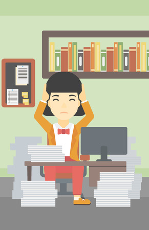 heaps: An asian young business woman in despair sitting at workplace with heaps of papers and clutching her head. Vector flat design illustration. Vertical layout.