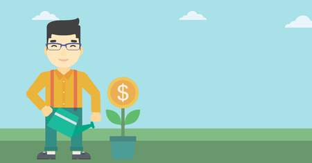 asian gardening: An asian  young businessman watering a money flower. Successful business concept. Vector flat design illustration. Horizontal layout.