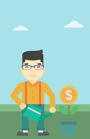 An asian  young businessman watering a money flower. Successful business concept. Vector flat design illustration. Vertical layout. Illustration