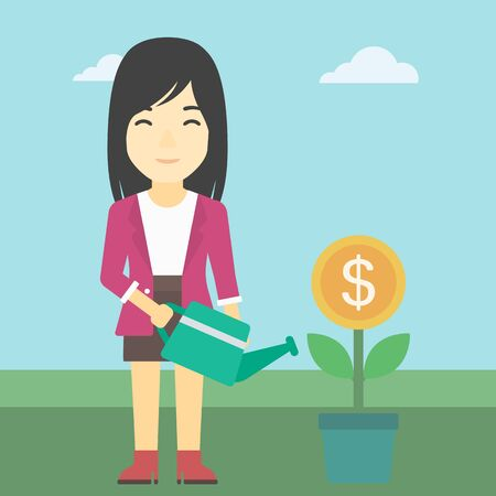asian business: An asian business woman watering a money flower. Successful business concept. Vector flat design illustration. Square layout.