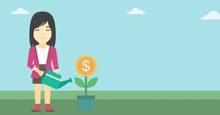 asian business: An asian business woman watering a money flower. Successful business concept. Vector flat design illustration. Horizontal layout.