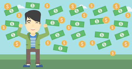 money rain: An asian  young businessman with raised hands standing under money rain. Successful business concept. Vector flat design illustration. Horizontal layout.