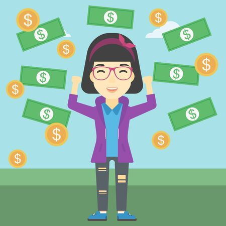 asian business: An asian business woman with raised hands standing under money rain. Successful business concept. Vector flat design illustration. Square layout.