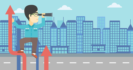 An asian young businessman standing on the top of arrow and looking through spyglass on the background of modern city. Vector flat design illustration. Horizontal layout. Illustration