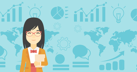 business woman with tablet: An asian young business woman holding a file in hand while standing with growing chart and a map on a background. Vector flat design illustration. Horizontal layout.