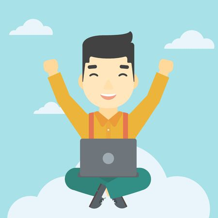 asian man laptop: An asian  happy man with raised hands sitting on a cloud with a laptop. Vector flat design illustration. Square layout.