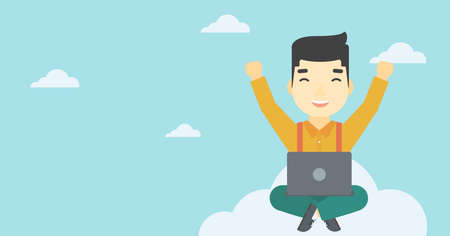 asian man laptop: An asian  happy man with raised hands sitting on a cloud with a laptop. Vector flat design illustration. Horizontal layout. Illustration