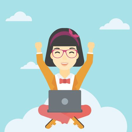 woman laptop happy: An asian  happy woman with raised hands sitting on a cloud with a laptop. Vector flat design illustration. Square layout.