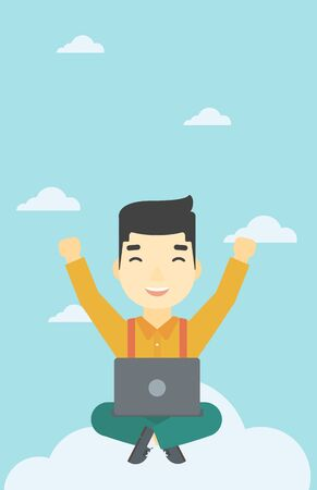 asian man laptop: An asian  happy man with raised hands sitting on a cloud with a laptop. Vector flat design illustration. Vertical layout.