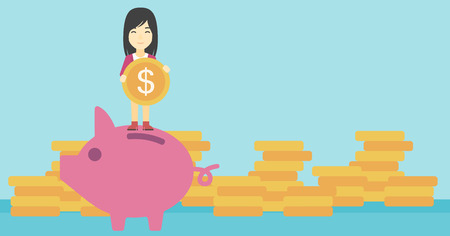 woman holding money: An asian young business woman saving her money by putting a coin in a big piggy bank on a background of stacks of gold coins. Vector flat design illustration. Horizontal layout.