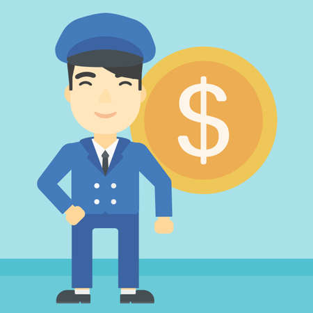 asian manager: An asian  young businessman standing with a big dollar coin behind him. Successful business concept. Vector flat design illustration. Square layout. Illustration