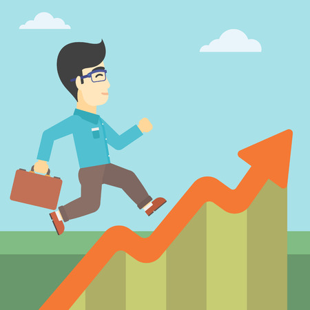moving up: An asian cheerful businessman running along the growth graph. Happy businessman going up. Man moving up. Successful business concept. Vector flat design illustration. Square layout.