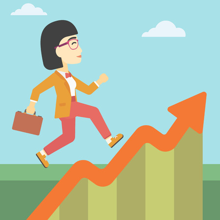 moving up: An asian cheerful business woman running along the growth graph. Happy business woman going up. Woman moving up. Successful business concept. Vector flat design illustration. Square layout.