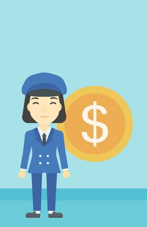 An asian young business woman standing with a big dollar coin behind her. Successful business concept. Vector flat design illustration. Vertical layout.