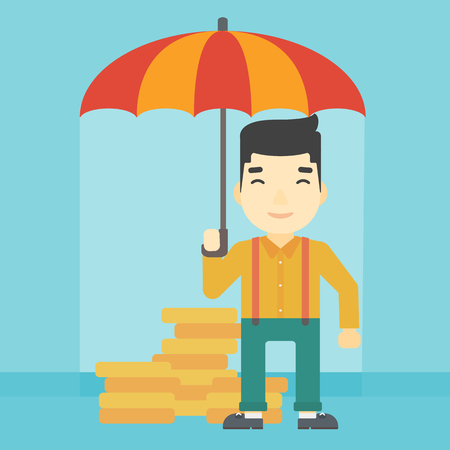 asian coins: An asian  young businessman standing in the rain and holding an umbrella over coins. Business insurance concept. Vector flat design illustration. Square layout.