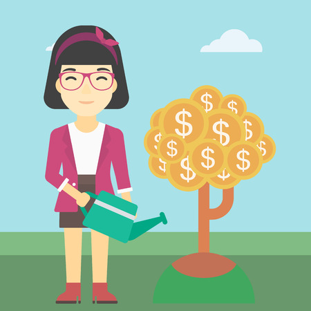 plant stand: An asian young business woman watering a money tree. Successful business concept. Vector flat design illustration. Square layout. Illustration