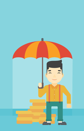 asian coins: An asian  young businessman standing in the rain and holding an umbrella over coins. Business insurance concept. Vector flat design illustration. Vertical layout. Illustration