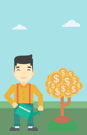 An asian  young businessman watering a money tree. Successful business concept. Vector flat design illustration. Vertical layout.