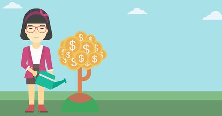 asian business: An asian young business woman watering a money tree. Successful business concept. Vector flat design illustration. Horizontal layout. Illustration