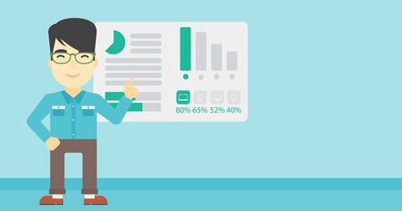 asian business man: An asian businessman pointing at charts on a board during business presentation. Man giving business presentation. Business presentation in progress. Vector flat design illustration. Horizontal layout
