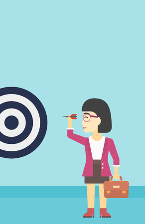 An asian young business woman with briefcase aiming at a target board. Concept of achieving of business goals. Vector flat design illustration. Vertical layout.