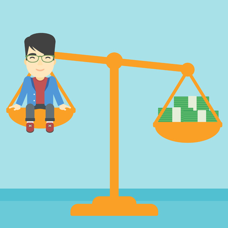 An asian  young businessman sitting on a scale with stacks of money. Vector flat design illustration. Square layout. Illustration