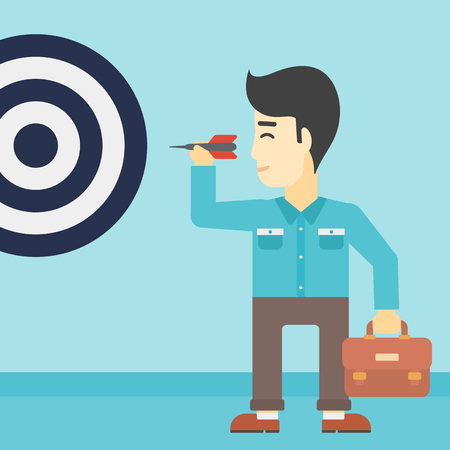 achieving: An asian young businessman with briefcase aiming at a target board. Concept of achieving of business goals. Vector flat design illustration. Square layout. Illustration