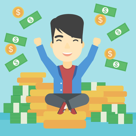 An asian  young businessman with raised hands sitting on golden coins and money flying around. Successful business concept. Vector flat design illustration. Square layout. Çizim