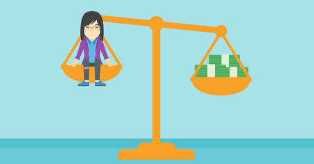 asian business woman: An asian business woman sitting on a scale with stacks of money. Vector flat design illustration. Horizontal layout.