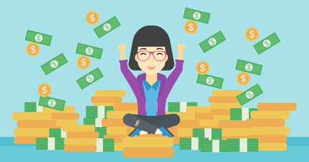 money flying: An asian  happy business woman with raised hands sitting on golden coins and money flying around. Successful business concept. Vector flat design illustration. Horizontal layout.
