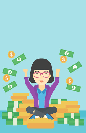 money flying: An asian  happy business woman with raised hands sitting on golden coins and money flying around. Successful business concept. Vector flat design illustration. Vertical layout.