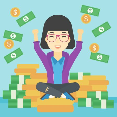 money flying: An asian  happy business woman with raised hands sitting on golden coins and money flying around. Successful business concept. Vector flat design illustration. Square layout.