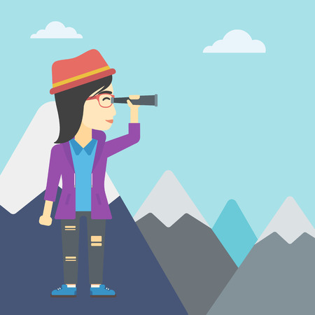asian business: An asian business woman standing on the top of mountain with spyglass. Business woman looking through spyglass for success and business opportunities. Vector flat design illustration. Square layout.