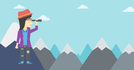 asian business woman: Asian business woman standing on the top of mountain with spyglass. Business woman looking through spyglass for success and business opportunities. Vector flat design illustration. Horizontal layout.