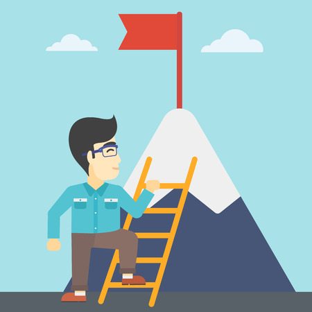 stair climber: An asian  young businessman standing with ladder near the mountain. Businessman climbing the mountain with a red flag on the top. Vector flat design illustration. Square layout.
