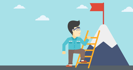 stair climber: An asian  young businessman standing with ladder near the mountain. Businessman climbing the mountain with a red flag on the top. Vector flat design illustration. Horizontal layout.