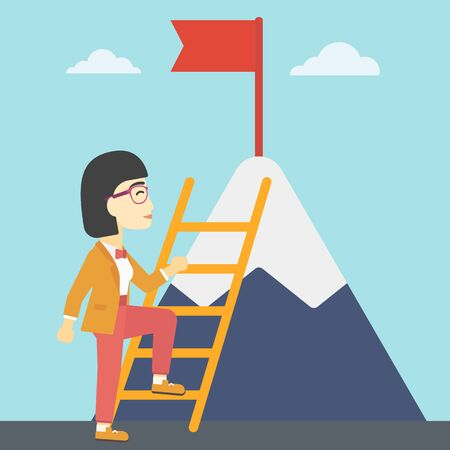 stair climber: An asian business woman standing with ladder near the mountain. Business woman climbing the mountain with a red flag on the top. Vector flat design illustration. Square layout.