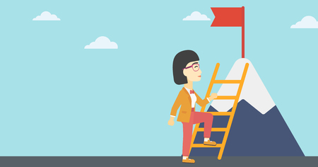 stair climber: An asian business woman standing with ladder near the mountain. Business woman climbing the mountain with a red flag on the top. Vector flat design illustration. Horizontal layout.