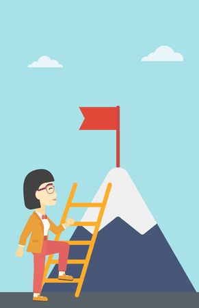 stair climber: An asian business woman standing with ladder near the mountain. Business woman climbing the mountain with a red flag on the top. Vector flat design illustration. Vertical layout. Illustration