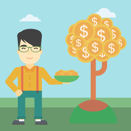 asian coins: An asian  young businessman with basket in hands catching dollar coins from money tree. Successful business concept. Vector flat design illustration. Square layout.