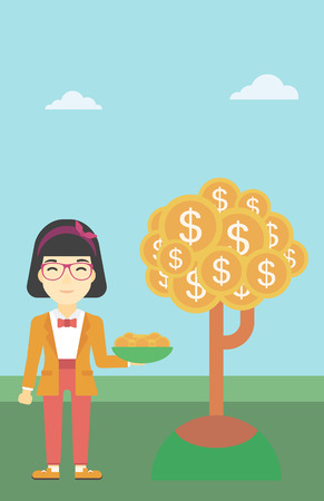 asian coins: An asian young business woman with basket in hands catching dollar coins from money tree. Successful business concept. Vector flat design illustration. Vertical layout.