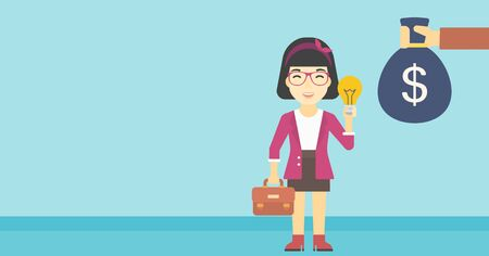 exchanging: An asian young happy business woman with briefcase exchanging her idea bulb to money bag. Successful business idea concept. Vector flat design illustration. Horizontal layout.