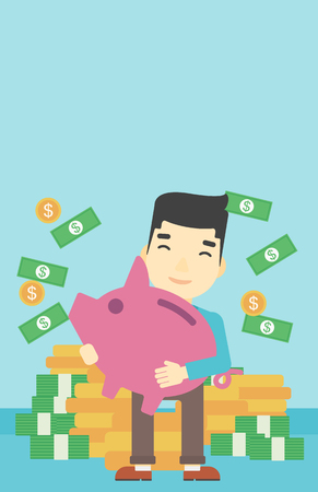 money rain: An asian happy young businessman holding a big piggy bank in hands under money rain on the background of stacks of gold coins. Vector flat design illustration. Vertical layout.