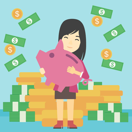 money stack: An asian young business woman holding a big piggy bank in hands under money rain on the background of stacks of golden coins. Vector flat design illustration. Square layout.